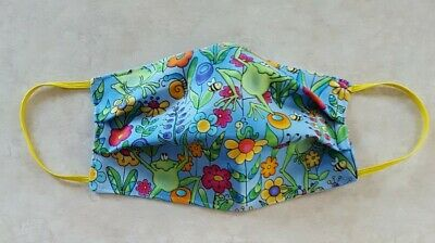 Face Mask Handmade Cotton Fabric ADULT Washable FROGS FLOWERS Elastic Loops