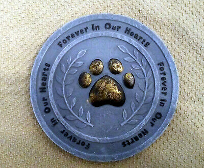 Forever In Our Hearts Pet Paw Dog Cat Garden Memorial Stone Plaque