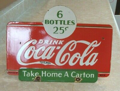 Rare Double Sided Vintage 1937 Coca Cola 6 Bottles 25 Porcelain Advertising Sign