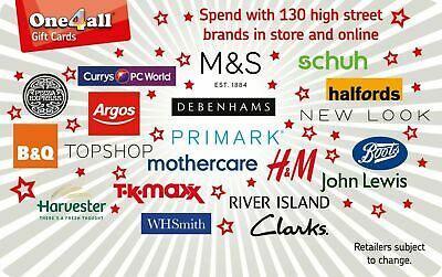 """One4all Gift Card £50  For Use In Many High Street Shops  """"Newly Issued"""""""