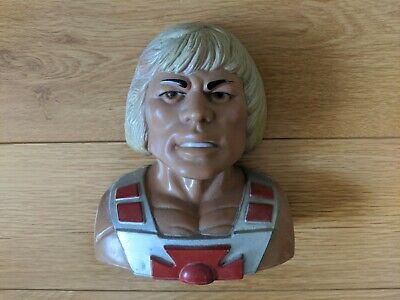 """1984 MATTEL 6"""" HE-MAN MASTERS OF UNIVERSE COIN BANK COMPLETE w STOPPER"""
