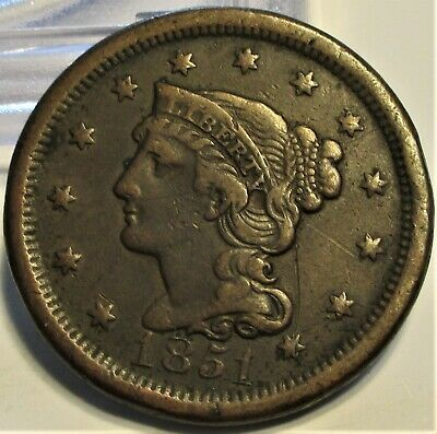 1851 Braided Hair Large Cent **Vf+** Rare Us Coin.