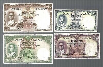 Thailand 🎇 1, 5, 10 & 20 Baht 4 pieces Banknote 🎇 Collections & Lots #747