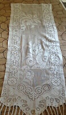 """Antique French lace curtain 21"""" X 66"""""""