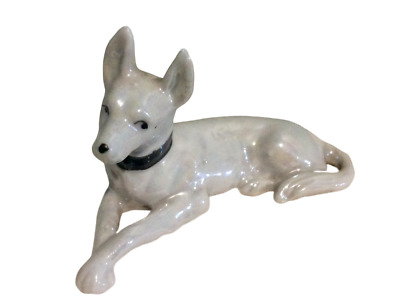 Vintage Great Dane Dog Porcelain Figurine White Pearlescent
