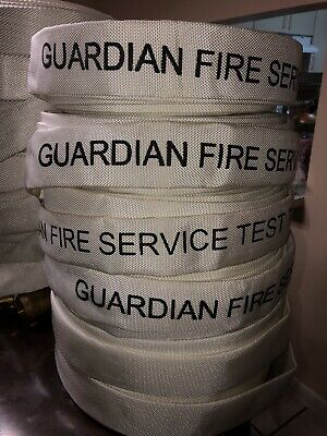 Fire Hose Guardian 75' 1 1/2 Inch Brass Couplings 250 PSI Year 2015 Very Good