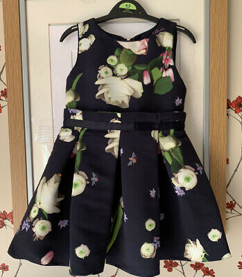 Girls Ted Baker Dress Navy Floral Age 2-3 Excellent Condition