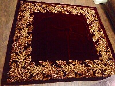 Antique Gold Thread Stitch Velvet Fabric Textile European Oak Leaf Table Cloth