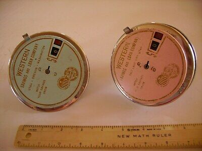 Two Vintage ADD O BANK's  Western Savings and Loan Pink & Blue