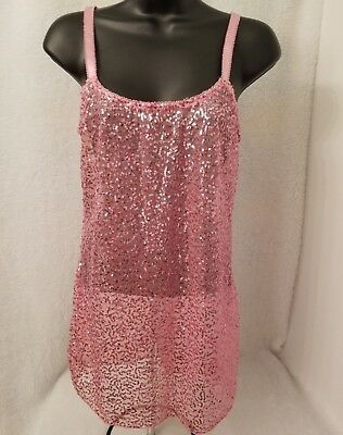 Passion Forever Womens Pink With Sequins Sheer Chemise Nightgown Size S