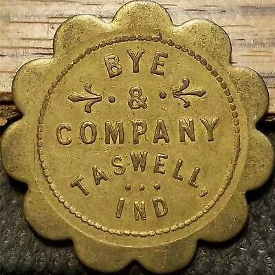 Vtg. General Store Trade Token TASWELL, INDIANA BYE & COMPANY Good For 50 CENTS
