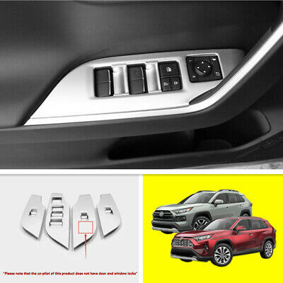 4PCS ABS Silver Door Window Switch Panel Cover Trim For 2019 2020 Toyota RAV4