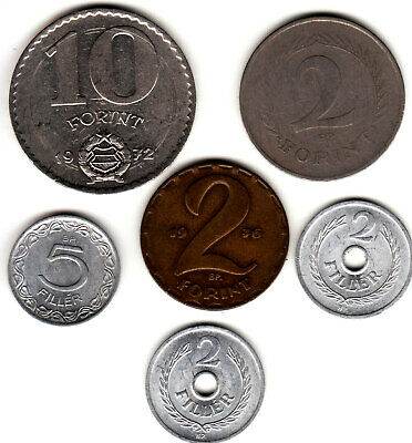 1950 1959 1965 1972 1976  Hungary  6 coin lot.