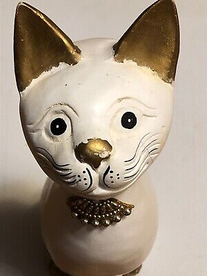 """16"""" Tall Hand Carved Wooden Cat Painted White&Gold"""