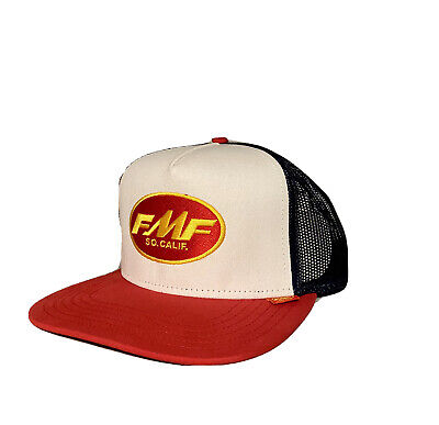 FMF Racing Don Trucker Hat (White Red Blue Mesh, OSFA)