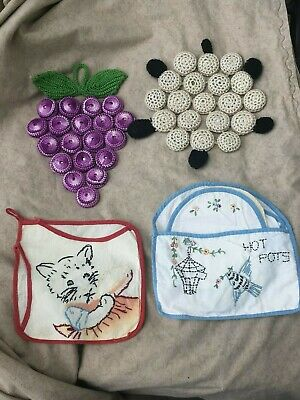 Lot of Vintage Pot Holders Crochet Embroidered Grapes Bottle Caps
