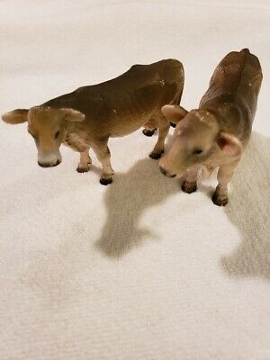 2001 Schleich Germany Swiss Cow and Bull Figurines-Both Retired