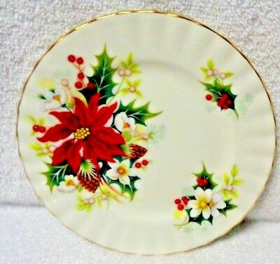 Royal Albert Poinsettia Red And Green Side Plate Eight Inches Diameter