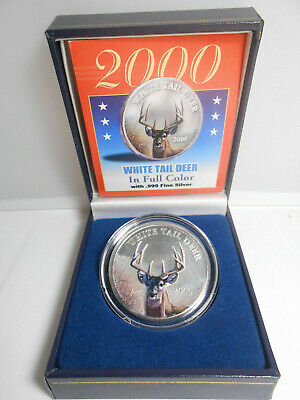 All Original 2000 10 Dollar 1 Oz White Tail Deer In Full Color .999 Fine Silver