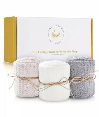 First Landings Baby Wrap | Set of 3 Premium Knit Wraps | Newborn Photography