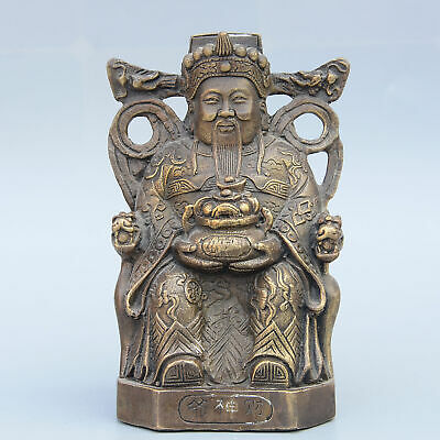 Collect China Old Bronze Hand-Carved Immortal & Wealth Moral Auspicious Statue