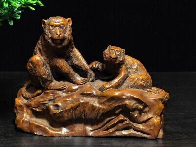 Collectable China Old Boxwood Hand-Carved Lovely Monkey Delicate Unique Statue