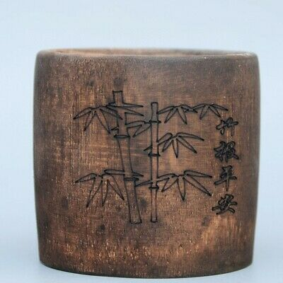 Collectable China Old Bamboo Hand-Carved Precious Delicate Auspicious Brush Pot