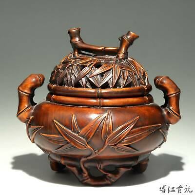 Collectable China Old Boxwood Hand-Carved Bamboo Delicate Unique Noble Censer
