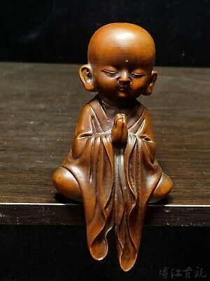Collectable China Old Boxwood Hand-Carved Monk Delicate Unique Exorcism Statue