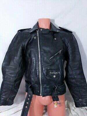 Vtg New Age Collection Leather Jacket Biker Punk Painted Sz 42 Black Read