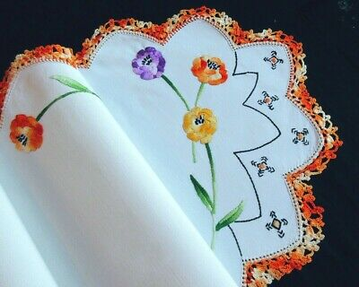 Vintage Scottish Arts & Crafts Style Embroidered Table Runner -Stylized Flowers