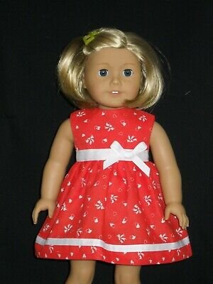 American Girl 18 inch Doll Dress Red with Hearts Dress Handmade