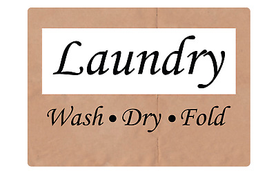 LAUNDRY -WASH-  -DRY-  -FOLD- | Adhesive Vinyl Sign Decal
