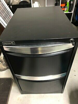 2 drawer metal filing cabinet Black with key. Locks OK