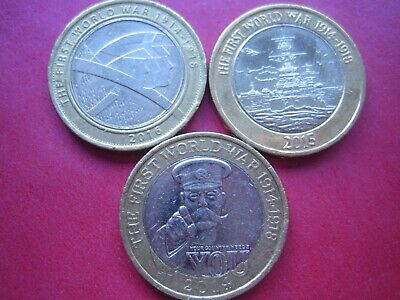 £2 Two Pound Coin Ww1 Set Of 3 *Rare* *Good Condition*