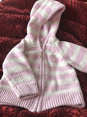 Cherokee Baby Girls Age 12-18 Months (1-2 Yrs) Hooded Pink And Cream Jacket/Zip