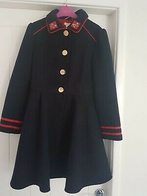 Girls Traditional Monsoon Swing Dress Coat Age 11-12 Years Navy Blue Barely Worn