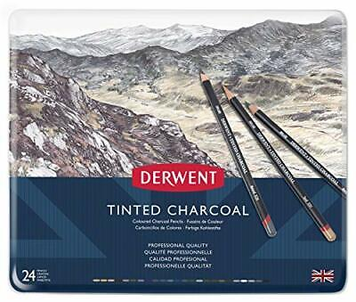 Derwent 2301691 Tinted Charcoal Drawing Pencils, Set of 24, Watersoluble,
