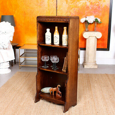 Antique Carved Oak Open Bookcase Arts & Crafts Waterfall Bookshelves