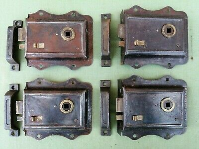 4 x 1950s THUMB RIM LOCKS AND ORIGINAL KEEPS FULLY COMPLETE ALL WORKING