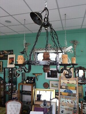Wrought Iron Chandelier Vintage Ceiling Light Gothic Style 5 Arm
