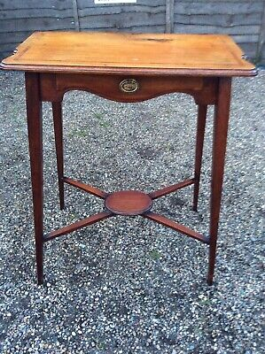 Antique Victorian Window Table Mahogany Inlaid With Drawer
