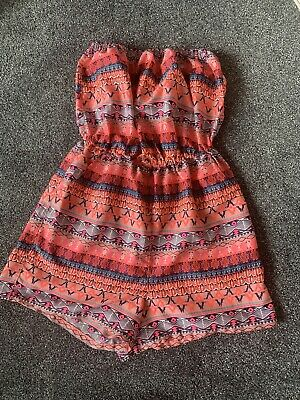 Girls Pink Orange Patterned Strapless Shorts Playsuit - Age 13 Years