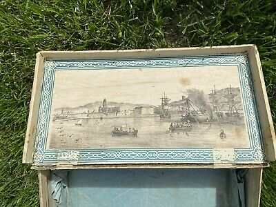 Antique 18/19 century Advertising Sewing Box ship building Barcelona print