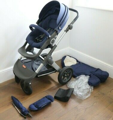 Stokke Trailz Pram Buggy, Deep Blue Navy, Used good condition, Extras