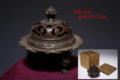 Japan Antique Edo Kinko Lotus INCENSE BURNER yoroi Kabuto tsuba koshirae Busho