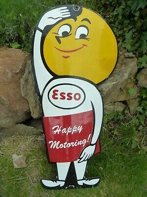"ESSO boy porcelain sign 32"" heavy vintage gasoline oil drop happy pump old gas"