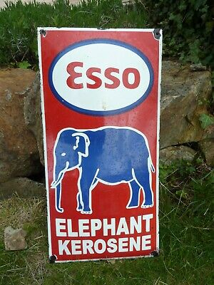 "ESSO Elephant porcelain sign 24"" vintage gasoline oil drop pump old kerosene USA"