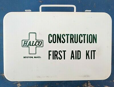 Vintage HALCO Metal First Aid Construction Kit 1st aid box halperin enamel 1950s