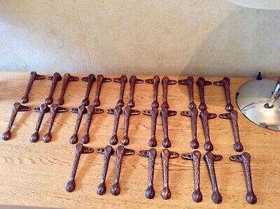 32 Vintage Decorative Cast Iron Stair Carpet Clips-Rods - Grips 1930'S Art Deco